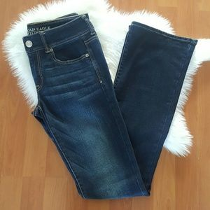 American Eagle dark wash kick boot jeans 6 Long